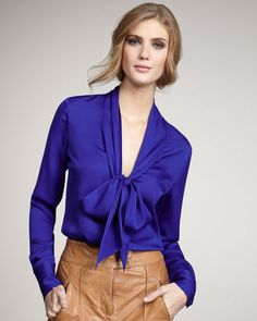 Natalie Tie-Neck Blouse, Dark Blue by Rachel Zoe at Bergdorf Goodman. I like that blouse. Blue Blouse Outfit, Top Chic, Look 2018, Tie Neck Blouse, Beautiful Blouses, Types Of Dresses, Work Attire, Blouse Designs, Fashion Outfits