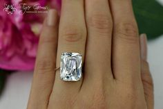 Man made diamond- could be fun for honeymoon!  14 Carat Celebrity Ring Radiant Cut Ring by TigerGemstones on Etsy