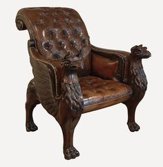 Tatham Leather Library Chair with Griffins - traditional - armchairs - new york - English Georgian America Georgian Furniture, Antique Furniture, Game Room Chairs, Art Nouveau, Armchairs And Accent Chairs, Library Chair, Cigar Room, Office Chair Without Wheels, Ornaments Design