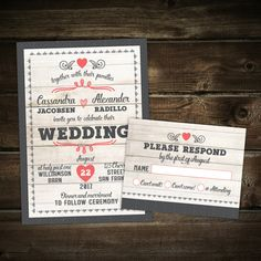 10 Whitewash Rustic Wedding Invitations with by LittleBeesGraphics