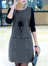 Above Knee Gray Round Neckline Tunic Polyester wwwu Gray General Work Dresses Red Casual Red Plus Long Sleeve Spring Pockets A-line Dress S Fall M Sweatershirt L XL XXL Solid Dress Trendy Dresses, Casual Dresses, Hijab Fashion, Fashion Dresses, Cheap Clothes, Clothes For Women, Dress Silhouette, Dresses Online, Dress Outfits