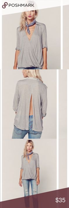 Planet Blue draped T-shirt in grey Worn once:) in perfect condition... super cute with a pair of jeans or shorts or even with yoga pants and a strapping sport bra showing in back...💘 Blue Life Tops Tees - Short Sleeve
