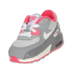 Nike Toddler Air Max 90 Running Shoes, Wolf Grey/White/Pure Platinum... ❤ liked on Polyvore featuring baby clothes