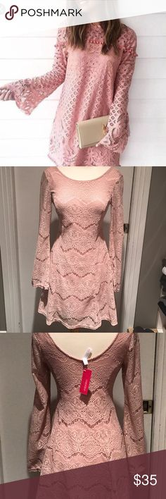 Maybe Pink Lace Bell-Sleeve Dress Boho Chic...Allover Lace with flared sleeves gives this dress a feminine touch. Pic 1 is a similar style but pic 2,3 & 4 is exact dress.  Completely lined.  Brand new with tags. Xhilaration Dresses Long Sleeve