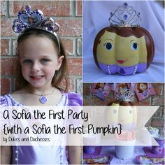 a Sofia the First party with a Sofia the First painted pumpkin #shop #JuniorCelebrates