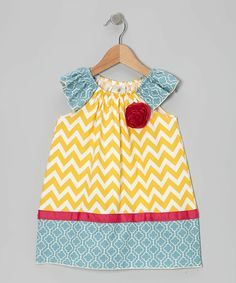 Take a look at this Yellow Lisa Angel-Sleeve Dress - Toddler & Girls on zulily today!