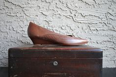 Wedges Shoe Leather Brown by East Fifth by WaistlandVintage, $21.00
