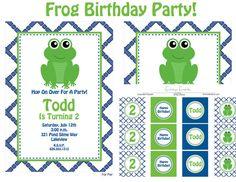 Modern Frog Birthday Party Invitation Frog por EmmysEvents en Etsy