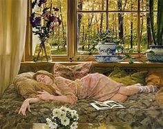 i can't make it very long reading laying down :)  ......painting by david hettinger