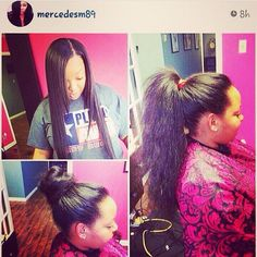 #tbt @mercedesm89 killed this #versatilesewin with our #indianremy !! Gotta luv our talented stylists, beautiful customers and our superb weave!! Lol