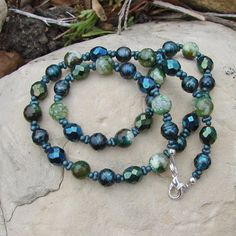 Deep Sea Blue Green Stone & Pearl Necklace by stoneblissdesigns, $32.00