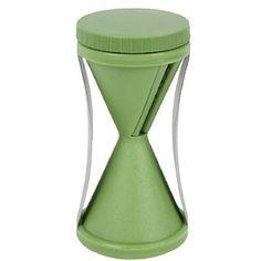 Trancheuse à spirale en plastique vert. Facile d'utilisation: tourner pour trancher. Dimension: 12 x 7 x 7 cm.