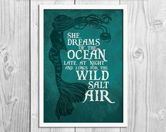 She Dreams of the Ocean - Mermaid Art Print Poster - DIGITAL DOWNLOAD
