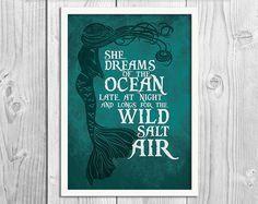 She Dreams of the Ocean Mermaid Art Print Poster by BlackSailsUK