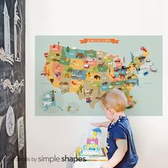 USA Map - Peel and Stick Fabric Poster Sticker by SimpleShapes on Etsy https://www.etsy.com/listing/181862900/usa-map-peel-and-stick-fabric-poster