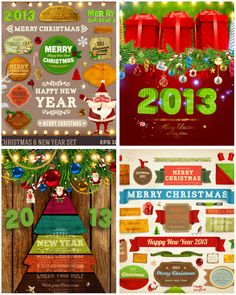 Vivid #Christmas cards and labels #vector