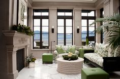 White and Green Living Rooms | Home Design Lover