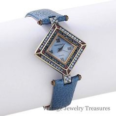 """Heidi Daus """"Fabulous Foulard"""" Crystal Accented Blue Leather Watch New HSN $69"""