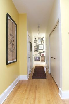 hallway decorating 434175220319119299 - Before & After: The Hallway Needed a Little Help (and has a Stealthy Secret) — Decorating Project Source by daydreamersdm Hallway Decorating, Entryway Decor, Decorating Bedrooms, Decorating Ideas, Wall Decor, Hallway Colours, Yellow Hallway Paint, White Hallway, Hallway Designs