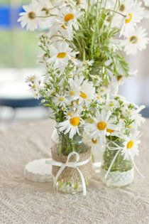 Several of my favorites all in one place...Daisies, Mason Jars, Burlap, and Lace!