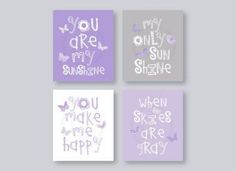 Butterfly Wall Art Kids, Purple Nursery Decor, Lavender Nursery Art, You Are My Sunshine Art Prints, Baby Girl Room Decor, Baby Decor, Baby Shower Decorations, Girl Nursery, Nursery Art, Nursery Ideas, Aqua Nursery, Animal Nursery, Lavender Nursery Decor