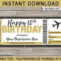 DIY Printable Editable Boarding Pass Surprise Fake Airline | Etsy Boarding Pass Template, Retirement Parties, Text You, Text Color, Texts, Custom Design, Diy, How To Apply, Printables