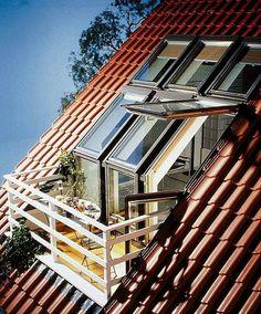 Love this conversion of skylight to porch in an attic space. - Home Decoz Attic Loft, Attic Rooms, Attic Spaces, Attic Bathroom, Attic Office, Attic House, Attic Apartment, Attic Renovation, Attic Remodel