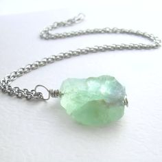 Seafoam Green Fluorite Pendant, Natural Stone Jewelry by CindyLouWho2