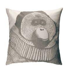 Monkey Baron, Decorative Pillow, Throw Pillow, Cushion Cover, Modern Pillow, Linen Pillow, 20 x 20 Pillow