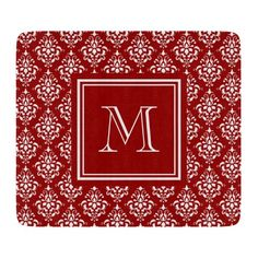 Red Damask Pattern 1 with Monogram