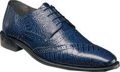 Stacy Adams Men's Garzon Cap Toe Oxford 25028 Blue Ostrich Leg/Eelskin Print Leather Size 8.5 M