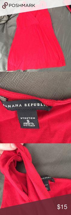 Red tank Red banana republic tank. Cut out arm straps. Deep v neck Banana Republic Tops Tank Tops