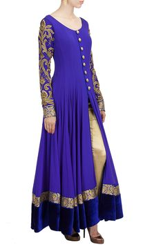 Ink blue and gold salwar. Indian fashion.