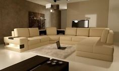 5021 MODERN BEIGE LEATHER SECTIONAL SOFA