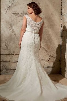 Alencon Lace Appliques On Net With Crystal Beading, Mori Lee by Madeline Gardner Julietta Collection | 31 Jaw-Dropping Plus-Size Wedding Dresses