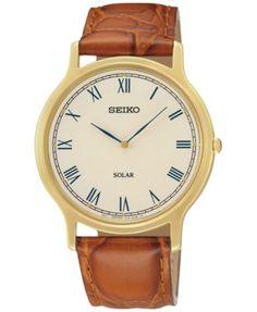 Seiko Men's Solar Brown Leather Strap Watch 38mm SUP876 | macys.com