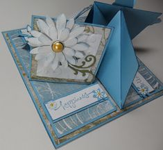 This is the Quad easle card Tutorial I have done so it fits in an envelope. I hope you have fun doing it . I made this beautiful blue ...
