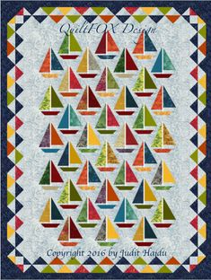 Scraps can be used for the boats, sailes and triangles in the border to piece this quilt. The pattern contains: - calculation for using yardage and fat quarters - links to my animated Foundation Piecing, One Seam Flying Geese and Binding tutorials on YouTube - cutting and piecing instructions - quilt assemble guide The step by step instructions are illustrated with lots of images and easy to follow. Finished size: 65 x 85  Please open the pattern with the latest version of Adobe Acrobat PDF…