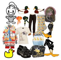 """""""Quackers"""" by lerp ❤ liked on Polyvore featuring Disney, Merona, Dorothy Perkins, Layla Amber, Collezio, Carhartt, ASOS, OneTeaspoon, cargo pants and ducks"""