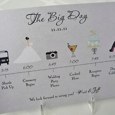 Itinerary for Wedding Day