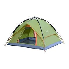 Go camping and enjoy nature in this Ohuhu 3 Person Dome Tent which features: *Quick and easy to set up and take down in a minute. *Sturdy in construction on its Aluminum Alloy tent frame with foldi. 4 Person Camping Tent, 3 Person Tent, Best Tents For Camping, Family Camping, Tent Camping, Camping Gear, Outdoor Camping, Camping Lights, Camping Stuff
