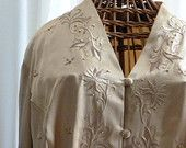 Vintage BEADED and EMBROIDERED BLOUSE, Ladies Size 16w, Gold on Gold, Dress Formal Wdding Dinner, Couture