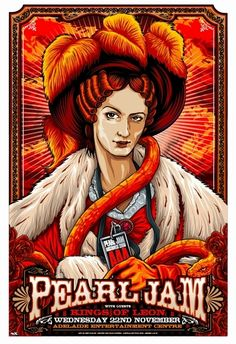 Pearl Jam Concert Poster  Entertainment Centre- Adelaide  Nov 22, 2006  #11 of a series of 12 Australian Concert Posters  Limited Edition that sold out instantly at the Venue  poster measures 19 inches x 28 inches  Artist: Ken Taylor