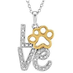 Tender Voices Paw Print  Diamond Love Necklace ($307) ❤ liked on Polyvore featuring jewelry, necklaces, diamond necklaces, gold tone necklace, pendants & necklaces, diamond jewelry and chain pendants