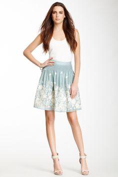 Blue Tassel / Embroidered Flower Skirt