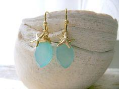 Aqua Earrings With Starfish, Aqua Gemstone Earrings,14k gold filled Starfish Earrings,Boho Beach Wedding,Beach Wedding,Bridesmaid Gifts by LetItBeLove on Etsy