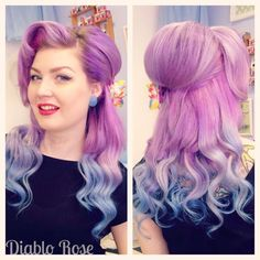 Diablo Rose - Looking for affordable hair extensions to refresh your hair look i. Vintage Hairstyles Tutorial, Retro Hairstyles, Wig Hairstyles, Updo Hairstyle, Wedding Hairstyles, Rockabilly Hair Tutorials, Pin Up Hair, Ombre Hair Color, Purple Ombre
