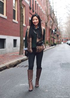 petite friendly faux fur vest for layering // casual winter outfit