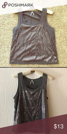 Silver patchwork sequin top ✨✨ Sparkly silver sequin grey tunic top worn on top of black skirt/shorts for girls night out or date night! Tops Blouses