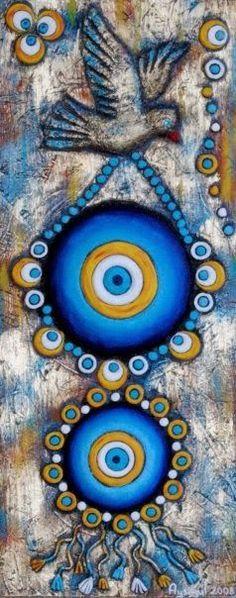 Seramik ve Dekoratif Resimler ile Alakalı Bir Blog ' tur...Tasarımcı:Ayşegül ARSLAN Mandala Art, Mandala Painting, Stone Painting, Evil Eye Art, Arte Judaica, Hamsa Art, Spiritual Paintings, Egyptian Art, Pebble Art